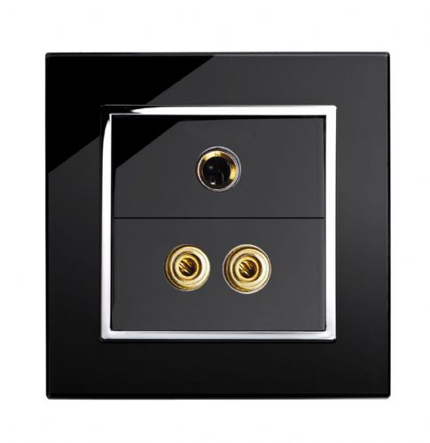 RetroTouch AUDIO / MIC Socket Black Glass CT 00291